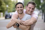 Men couple gay hugging